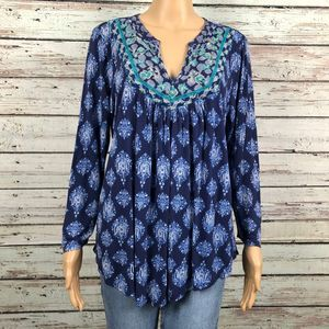 Lucky Blue Moroccan Floral Boho Embroidered Shirt